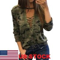 5 Colors Women V-Neck Lace Up Camo T-Shirt Long Sleeve Casual Loose Blouse Shirt