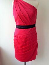 LIPSY ladies cerise pink and black satin one shoulder dress size 10