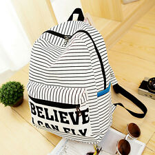 Women Small Canvas School Casual Backpack Rucksack Shoulder Bag White Striped