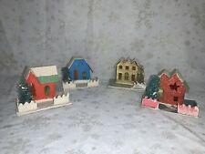 Lot of 4 Vintage Putz Mica Cardboard Christmas Pieces. Made In Japan