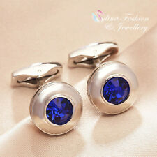 18K White Gold Plated AAA Grade Cubic Zirconia Round Blue Hot Men's Cufflinks