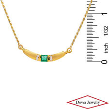 Italian Diamond Emerald 18K Yellow Gold Half Moon Pendant Chain Necklace NR