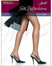 Hanes Silk Reflections Control Top Reinforced Toe Quick Silver Pantyhose Size CD