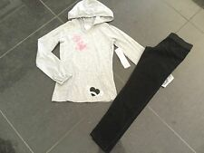 NWT Juicy Couture New & Gen. Girls Age 8 Black Velour Pants & Grey Cotton Hoody