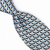 Josiah France Mens Silk Necktie Blue White Geometric Star Print 7 Fold Tie Italy
