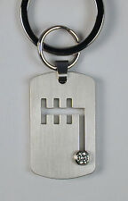 Stainless Steel Gear Shift Key Ring w/ CZ by B.Tiff New York Free U.S. Shipping