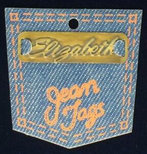 """Vintage Brass Sew On Name Tag 1 3/4"""" - """"Elizabeth"""""""