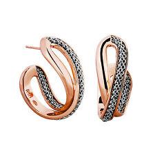 Adami & Martucci Silver Mesh Small Hoop Earrings in Rose Gold