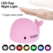 7 Color Changing Rechargeable Silicone Dolphin Night Light Bedside Gift Lamp Us