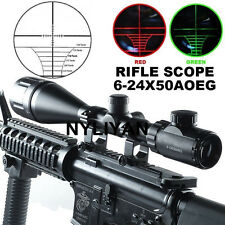 6-24x50 AOEG Rangefinder Red/Green Optical Rifle Scope W/Ring Mounts F Gun Hunt