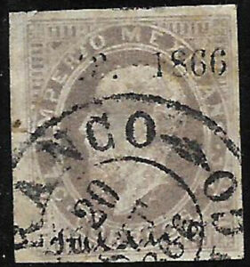 MEXICO -1866, MAXI.-7c., 43-1866, MEXICO, USED IN SEPTEMBER 20, 1866 - $140.00