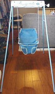 Vintage Graco Swyngomatic Wind Up Crank Baby Swing Blue Movie Tv Prop Doll