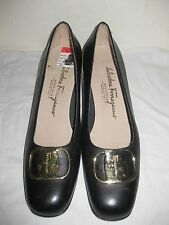 Salvatore Ferragamo Boutique Leather Black  Shoes Woman Size 7 AA