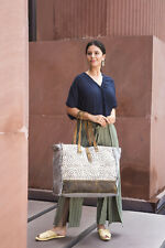 MYRA BAG Canvas & Leather Ethnic Tribal Print Weekender Bag - New With Tags
