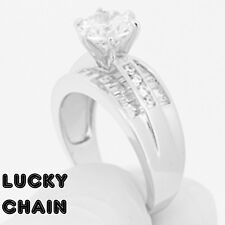 Women`S 925 Sterling Silver Lab Diamond Engagement Ring 6g R558