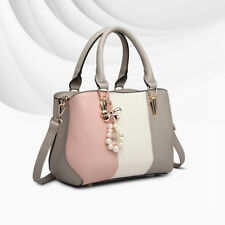 Ladies Grey Shoulder Handbag Women DESIGNER Tote Faux Leather Casual Stripe Bag