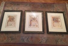 3 Vintage Framed Antique Biblical Latin Prints Nicely Framed Matching 24x20 3/8
