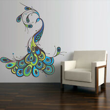Full Color Wall Decal Sticker Feather Peacock Bird (Col767)