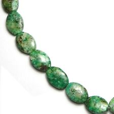 "15.5"" NATURAL GREEN STONE AFRICAN TURQUOISE Flat Oval ~27 Beads ap10x14mm K4961"