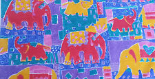 Bambino Elephant Design For Children - 100% Cotton Fabric - Red, Blue, Yellow