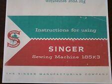 SINGER 185 SEWING MACHINE INSTRUCTION MANUAL