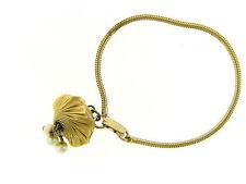 Vintage Gold Snake Chain Link Fancy Pearl Tassel Drop Bracelet