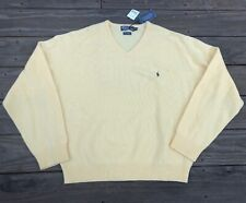 NOS Polo Ralph Lauren Yellow Lambswool Sweater Men 2XL V-Neck Soft