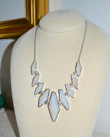 NWT $150 KENDRA SCOTT Berniece Large Bib Necklace Iridescent White Agate Stones