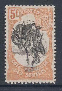 Somali Coast Sc 63 MLH. 1903 5f Somali Warriors, Inverted Center ERROR, fresh
