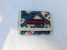 Bungalow 360 Sea Otter Tri-Fold Wallet Canvas blue off white pink hearts So Cute