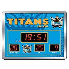 GOLD COAST TITANS NRL SCOREBOARD LED Glass Clock Date Time Temp Man Cave Bar