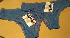 bnwt MARKS & SPENCER 2 PAIRS BRAZILIAN BRIEFS KNICKERS SZ 14 BLUE LACY LACE