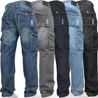 Mens Cargo Combat Jeans Casual Work Heavy Denim Pants Trousers DENIM & DYE