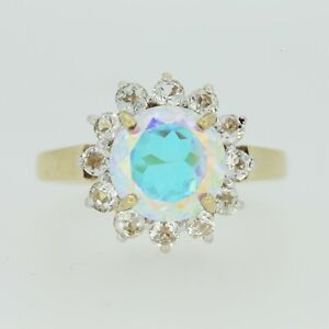 9ct Gold Ring - 9ct Yellow Gold Mystic Topaz & White Sapphire Ring Size N