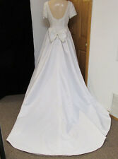 NOS Wedding Dress Gown White Imperial Brand Train Sleeves Beaded Sequins Size 12