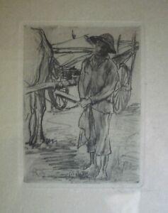 RUDOLF STUMPF 1881-1945 GERMAN EXPRESSIONIST ETCHING A FARM HAND KATHE KOLLWITZ