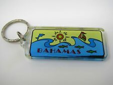 Vintage Keychain Charm: Bahamas Ocean Waves Fish Design