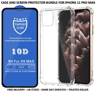 IPHONE 11 PRO MAX CLEAR SHOCKPROOF CASE & 10D TEMPERED GLASS PROTECTOR BUNDLE