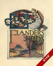 IN FLANDERS FIELDS POEM POSTER WWI WORLD WAR 1 ART PAINTING REAL CANVAS PRINT