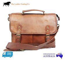 "Men's 14"" Leather Shoulder Satchel Bag - Laptop Old School Timeless Goat Hide"
