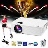 7000 Lumens LED 3D Projector 1080P Full HD Home Cinema USB/AV/VGA Multimedia US