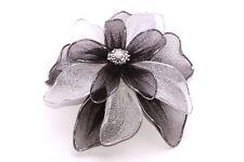 EXQUISITE GLITTERING BLACK/GREY NYLON FLOWER BROOCH RHINESTONE CENTRE (ZX34)