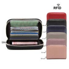 Women Men's Genuine Leather Wallet RFID Card Holder Multifunction Zipper Purse