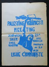 Affiche originale PALESTINE VAINCRA MEETING ligue communiste bleue 1969 307