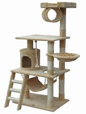 "Large Cat Tree Condo House 62"" Kitty Furniture Stand Play Post Scratchers Home"