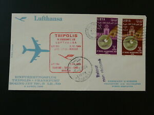 first flight cover Lufthansa 1964 Tripoli Lybia to Frankfurt 90126