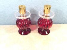 2 Vtg. Avon Candlestick Elusive Cologne Bottle Red Glass Acrylic Candleholders