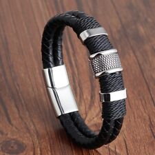 Men's Genuine Leather Handmade Bracelet Wristband Weaved Double Layer