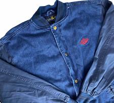 Vintage Luna Pier Toile Jeans Varsity Bomber Hommes XL Veste Bleu Diamant Rétro