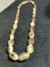 VINTAGE  CARVED BLONDE  HORN BEAD LONG GRADUATED NECKLACE GOOD CONDITION